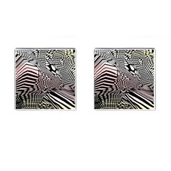 Abstract Fauna Pattern When Zebra And Giraffe Melt Together Cufflinks (square) by Simbadda