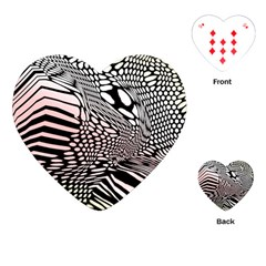 Abstract Fauna Pattern When Zebra And Giraffe Melt Together Playing Cards (heart)  by Simbadda