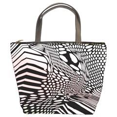 Abstract Fauna Pattern When Zebra And Giraffe Melt Together Bucket Bags by Simbadda