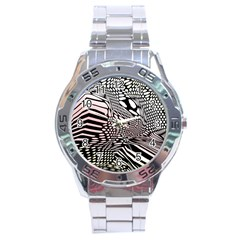 Abstract Fauna Pattern When Zebra And Giraffe Melt Together Stainless Steel Analogue Watch by Simbadda