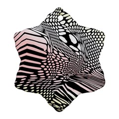Abstract Fauna Pattern When Zebra And Giraffe Melt Together Snowflake Ornament (two Sides) by Simbadda