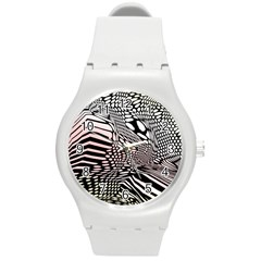 Abstract Fauna Pattern When Zebra And Giraffe Melt Together Round Plastic Sport Watch (m) by Simbadda
