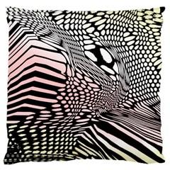Abstract Fauna Pattern When Zebra And Giraffe Melt Together Standard Flano Cushion Case (one Side) by Simbadda
