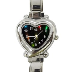 Star Lights Abstract Colourful Star Light Background Heart Italian Charm Watch by Simbadda