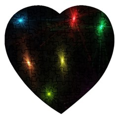 Star Lights Abstract Colourful Star Light Background Jigsaw Puzzle (heart) by Simbadda