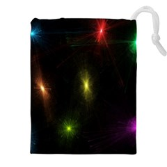 Star Lights Abstract Colourful Star Light Background Drawstring Pouches (xxl) by Simbadda