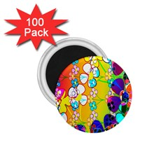 Abstract Flowers Design 1 75  Magnets (100 Pack)  by Simbadda