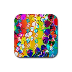 Abstract Flowers Design Rubber Square Coaster (4 Pack)  by Simbadda