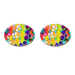 Abstract Flowers Design Cufflinks (oval) by Simbadda