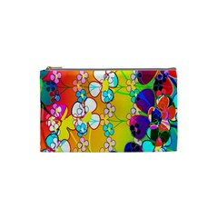 Abstract Flowers Design Cosmetic Bag (small)