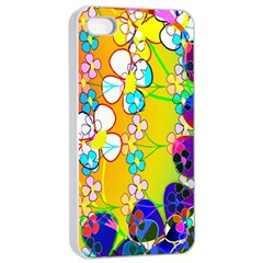 Abstract Flowers Design Apple Iphone 4/4s Seamless Case (white) by Simbadda