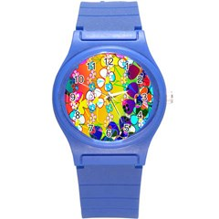 Abstract Flowers Design Round Plastic Sport Watch (s) by Simbadda