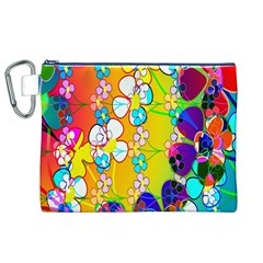 Abstract Flowers Design Canvas Cosmetic Bag (xl) by Simbadda
