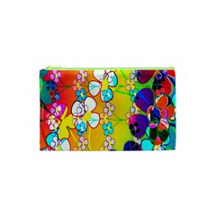 Abstract Flowers Design Cosmetic Bag (xs) by Simbadda