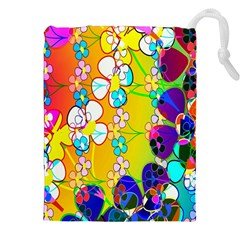 Abstract Flowers Design Drawstring Pouches (xxl) by Simbadda