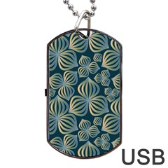 Gradient Flowers Abstract Background Dog Tag Usb Flash (one Side) by Simbadda