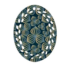 Gradient Flowers Abstract Background Oval Filigree Ornament (two Sides) by Simbadda