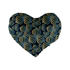 Gradient Flowers Abstract Background Standard 16  Premium Flano Heart Shape Cushions by Simbadda
