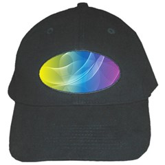 Colorful Guilloche Spiral Pattern Background Black Cap by Simbadda