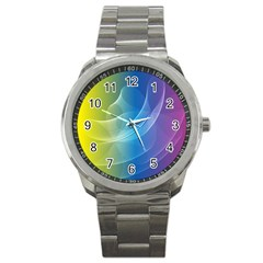 Colorful Guilloche Spiral Pattern Background Sport Metal Watch by Simbadda