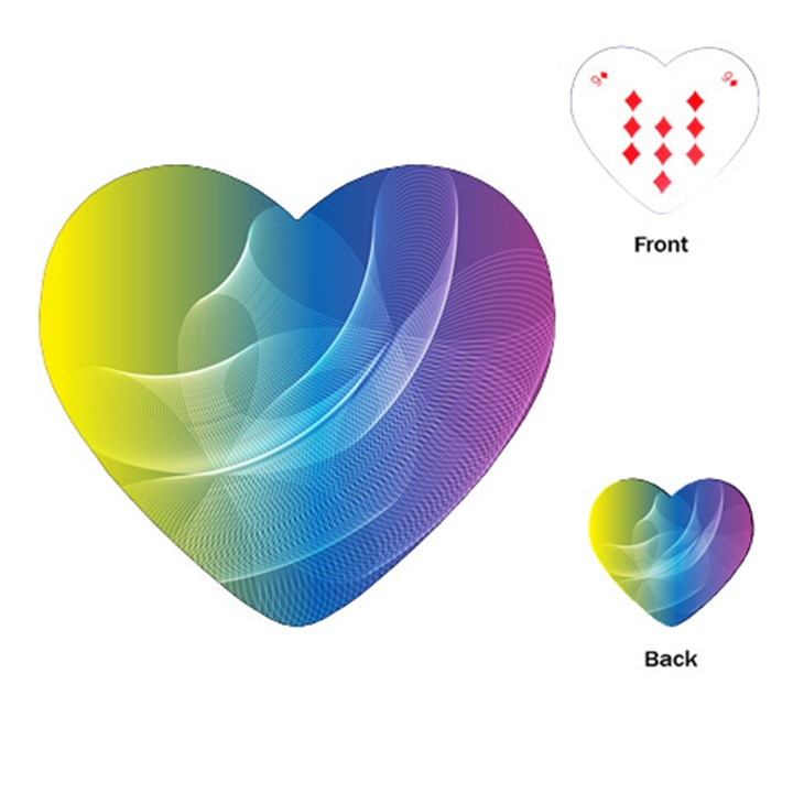 Colorful Guilloche Spiral Pattern Background Playing Cards (Heart)