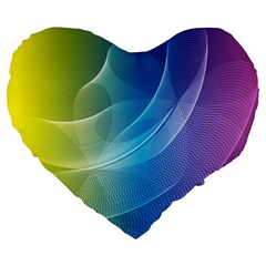 Colorful Guilloche Spiral Pattern Background Large 19  Premium Heart Shape Cushions by Simbadda