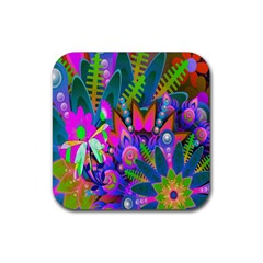 Wild Abstract Design Rubber Coaster (square)  by Simbadda