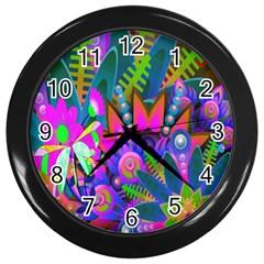 Wild Abstract Design Wall Clocks (black) by Simbadda