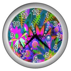 Wild Abstract Design Wall Clocks (silver)  by Simbadda