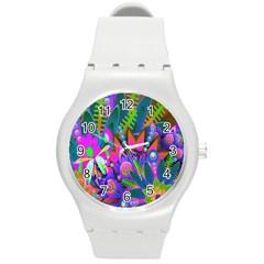 Wild Abstract Design Round Plastic Sport Watch (m) by Simbadda