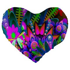 Wild Abstract Design Large 19  Premium Heart Shape Cushions by Simbadda