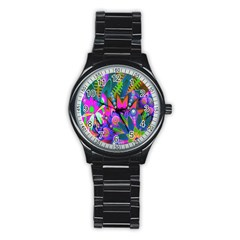 Wild Abstract Design Stainless Steel Round Watch by Simbadda