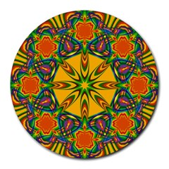 Seamless Orange Abstract Wallpaper Pattern Tile Background Round Mousepads by Simbadda
