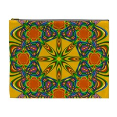 Seamless Orange Abstract Wallpaper Pattern Tile Background Cosmetic Bag (xl) by Simbadda
