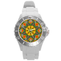 Seamless Orange Abstract Wallpaper Pattern Tile Background Round Plastic Sport Watch (l) by Simbadda