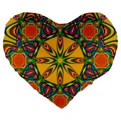 Seamless Orange Abstract Wallpaper Pattern Tile Background Large 19  Premium Flano Heart Shape Cushions by Simbadda