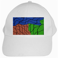 Abstract Art Mixed Colors White Cap by Simbadda