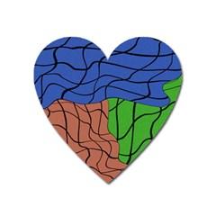 Abstract Art Mixed Colors Heart Magnet by Simbadda