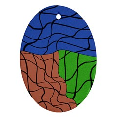Abstract Art Mixed Colors Oval Ornament (two Sides) by Simbadda