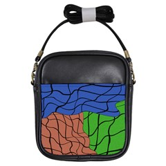Abstract Art Mixed Colors Girls Sling Bags by Simbadda