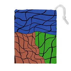 Abstract Art Mixed Colors Drawstring Pouches (extra Large)