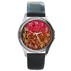 Background Water Abstract Red Wallpaper Round Metal Watch by Simbadda