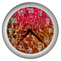 Background Water Abstract Red Wallpaper Wall Clocks (silver)  by Simbadda