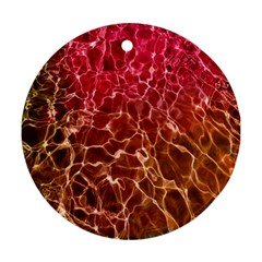 Background Water Abstract Red Wallpaper Round Ornament (two Sides) by Simbadda