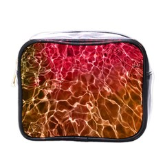Background Water Abstract Red Wallpaper Mini Toiletries Bags