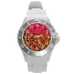 Background Water Abstract Red Wallpaper Round Plastic Sport Watch (l) by Simbadda
