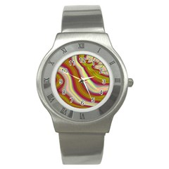 Artificial Colorful Lava Background Stainless Steel Watch by Simbadda