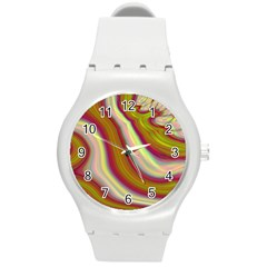 Artificial Colorful Lava Background Round Plastic Sport Watch (m) by Simbadda
