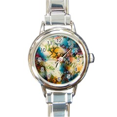 Abstract Color Splash Background Colorful Wallpaper Round Italian Charm Watch by Simbadda