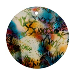Abstract Color Splash Background Colorful Wallpaper Ornament (round) by Simbadda